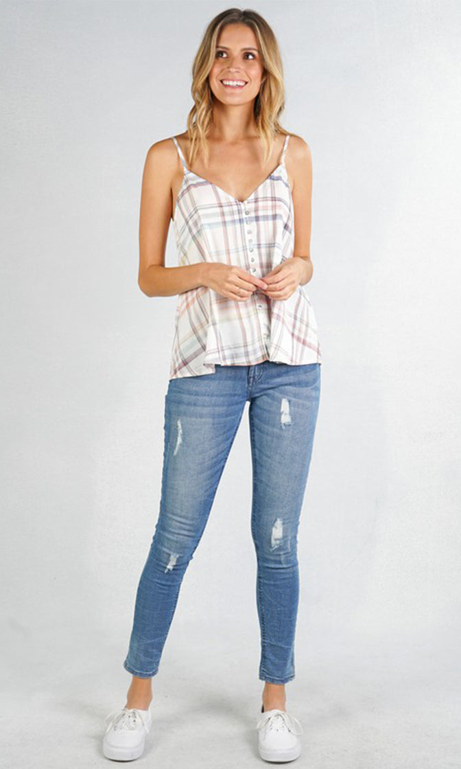 California Girl White Red Blue Plaid Pattern Sleeveless Spaghetti Strap V Neck Woven Button Tank Top