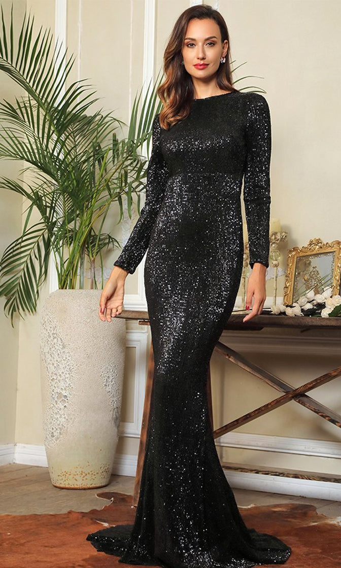 Overnight Star Black Sequin Long Sleeve Round Neck Fishtail Mermaid Maxi Dress
