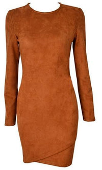 Talent and Skill Brown Faux Suede Long Sleeve Wrap Front Crew Neck Bodycon Mini Dress - Inspired by Kylie Jenner - Sold Out