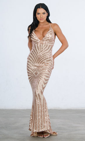 Indie XO Mystery Girl Silver Semi Sheer Sequin Sleeveless Spaghetti Strap Plunge V Neck Backless Double Slit Maxi Dress