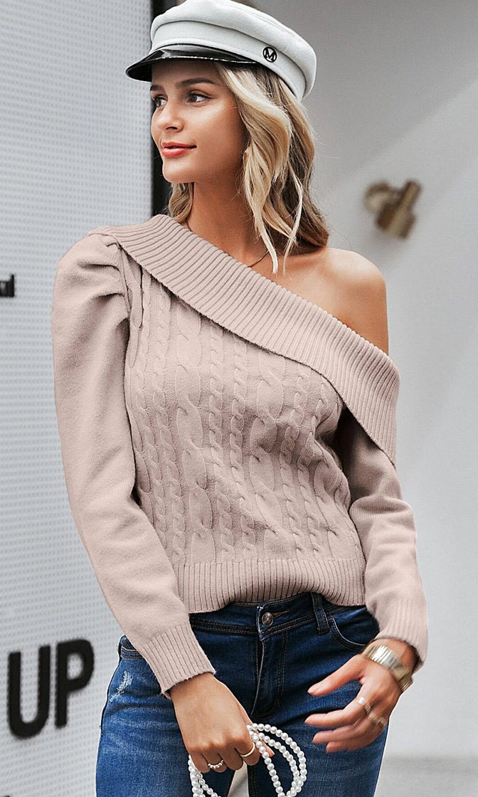 Call Me Whenever Apricot Long Sleeve Off The Shoulder Foldover Asymmetric Cable Knit Pullover Sweater