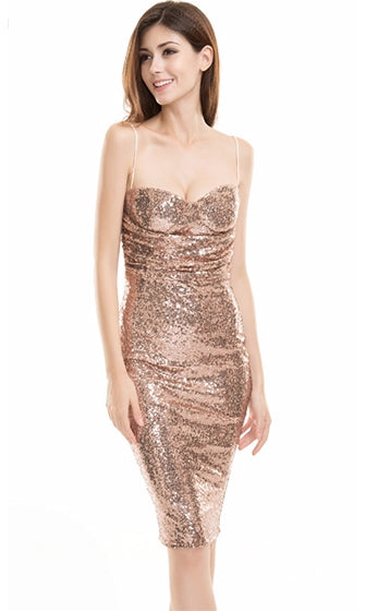 Guilt Complex Gold Sequin Sleeveless Spaghetti Strap Ruched Bodycon Midi Dress