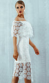 Share My Love White Sheer Mesh Lace Floral Pattern Off The Shoulder Bodycon Midi Dress - Sold Out