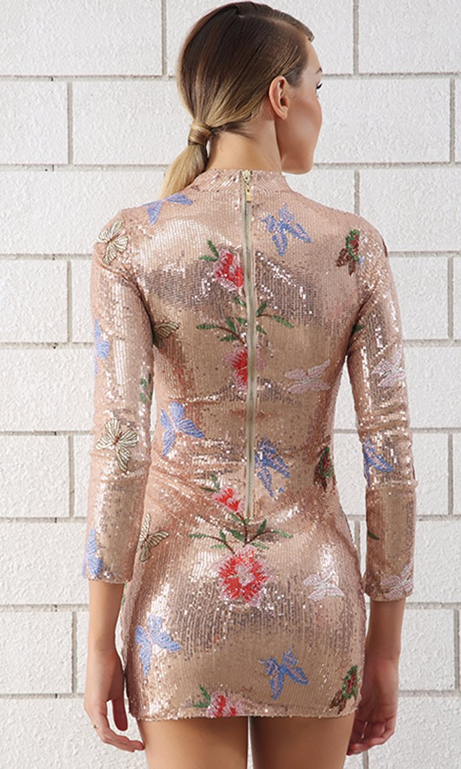 Long Night Sequin Floral Pattern Long Sleeve Mock Neck Bodycon Mini Dress - 2 Colors Available