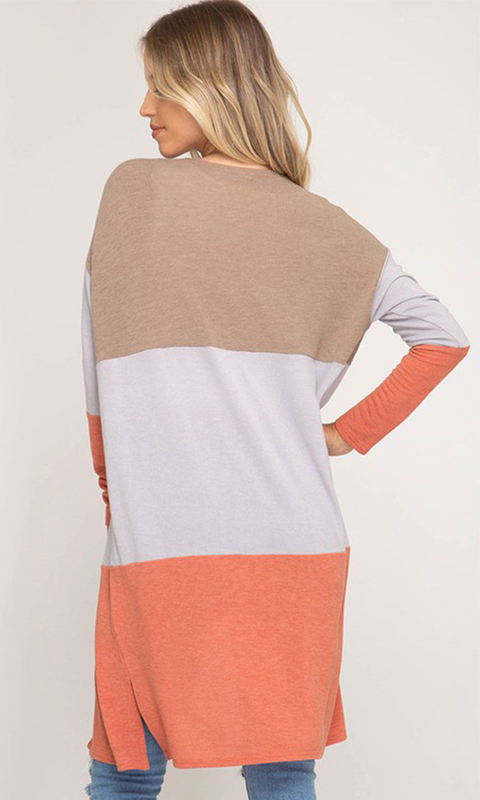 Just Doing It Long Sleeve Colorblock Horizontal Stripe Pattern Open Front Cardigan Sweater - 2 Colors Available