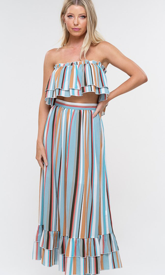 C'est La Vie Vertical Stripe Pattern Strapless Ruffle Tier Two Piece Casual Maxi Dress - 4 Colors Available (Pre-order)