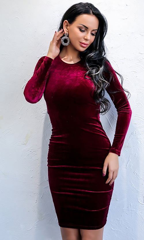 Plush Dreams Red Velvet Long Sleeve Crew Neck Cut Out Lace Up Back Bodycon Mini Dress