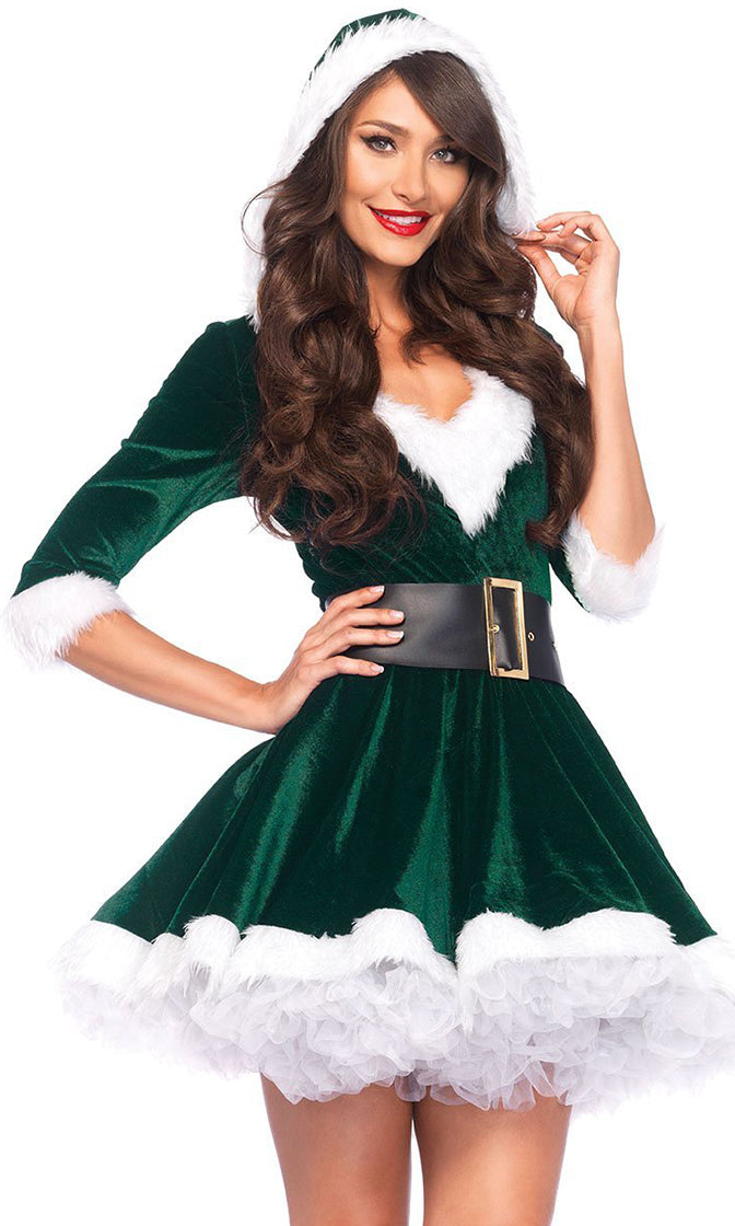 Claus I'm Hot Velvet 3/4 Sleeve Faux Fur Hood V Neck Belt Flare A Line Mini Dress Halloween Costume - 2 Colors Available