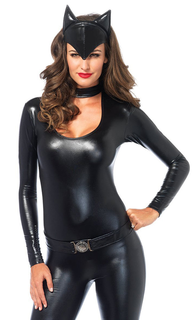 Cool Cat Black Long Sleeve Scoop Neck Choker Collar Cut Out Bodycon Jumpsuit Halloween Costume