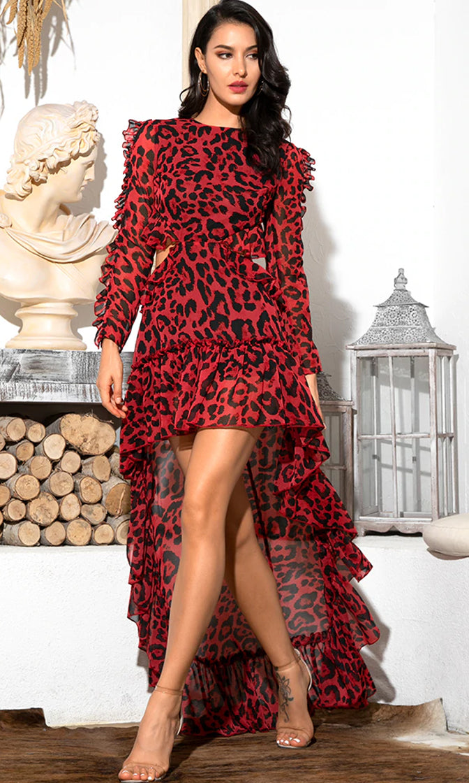 Direct Message Red Black Leopard Pattern Chiffon Long Sleeve Round Neck Ruffle Cut Out Backless High Low Maxi Dress