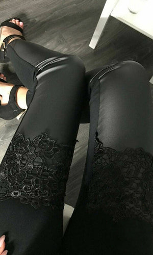 Sleek Encounter Black Lace PU Faux Leather Stretch Skinny Leggings Pants - Sold Out