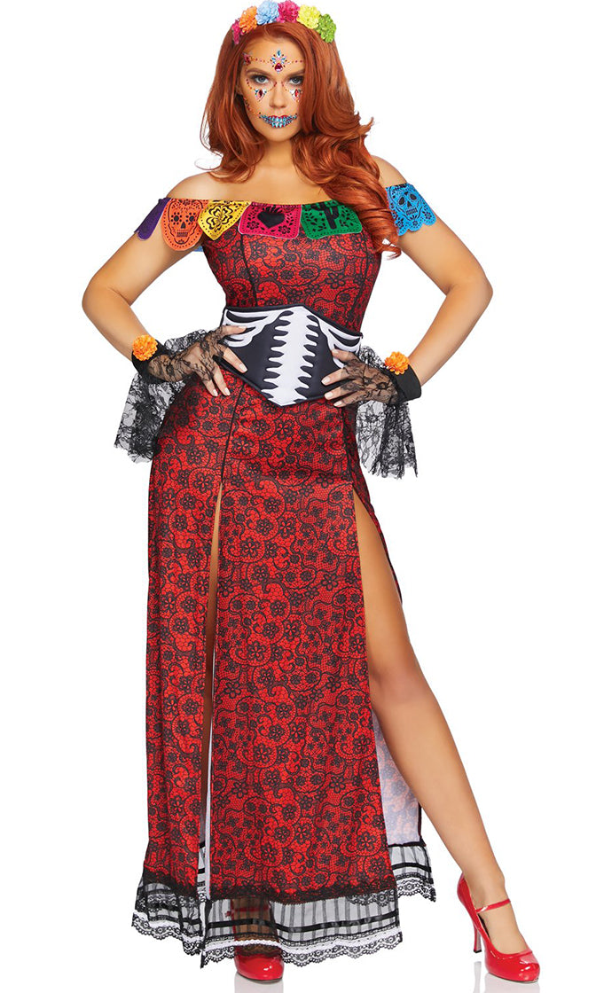 Queen Of Skulls Red Cap Sleeve Off The Shoulder Lace Pattern Double Slit Maxi Dress Halloween Costume