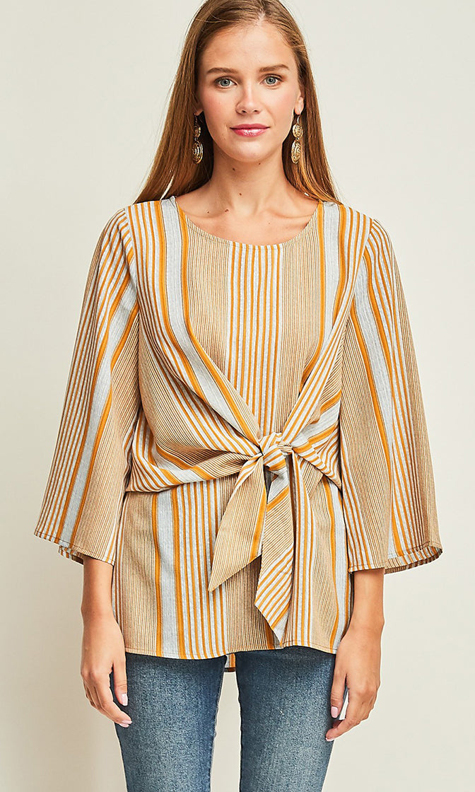Nice And Easy Vertical Stripe Pattern 3/4 Sleeve Round Neck Tie Front Tunic Blouse Top - 2 Colors Available