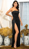 Nothing Compares Black Sequin Strapless Fold Over Side Slit Maxi Dress