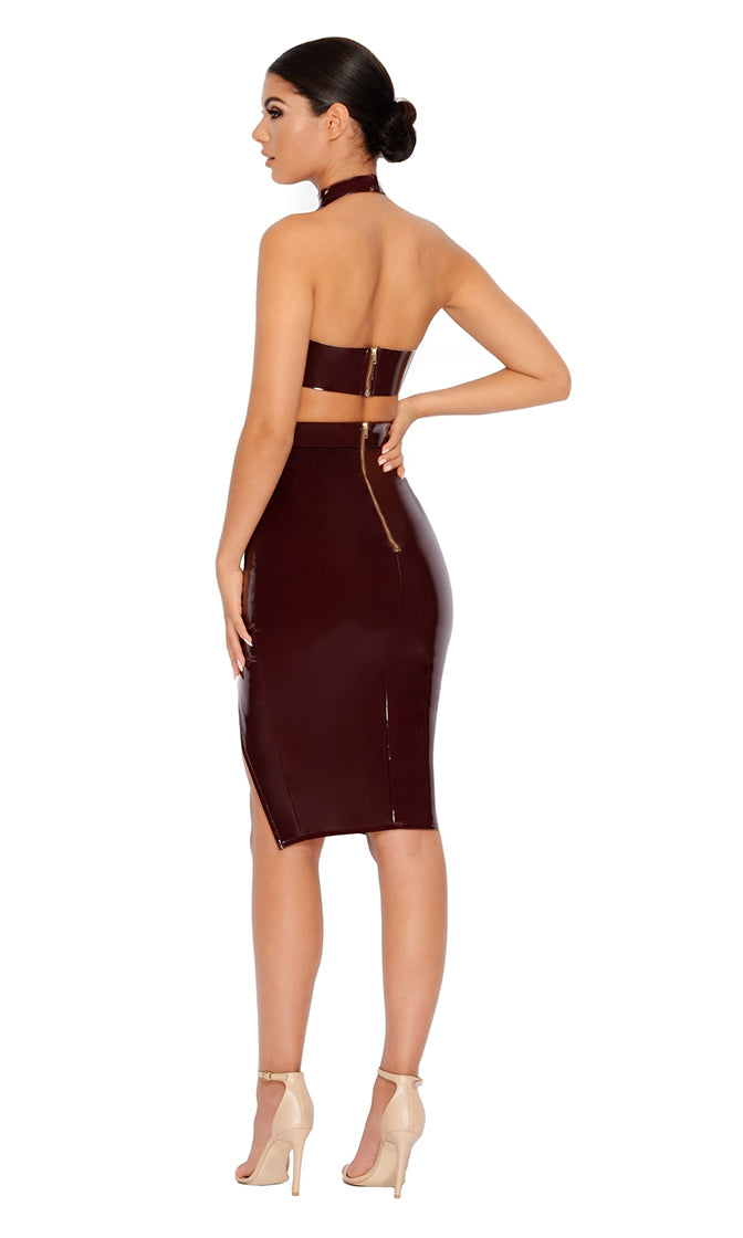 Breaking Bonds Burgundy PU Faux Leather Buckle Bustier Halter Crop Top Two Piece Bodycon Midi Dress - Sold Out