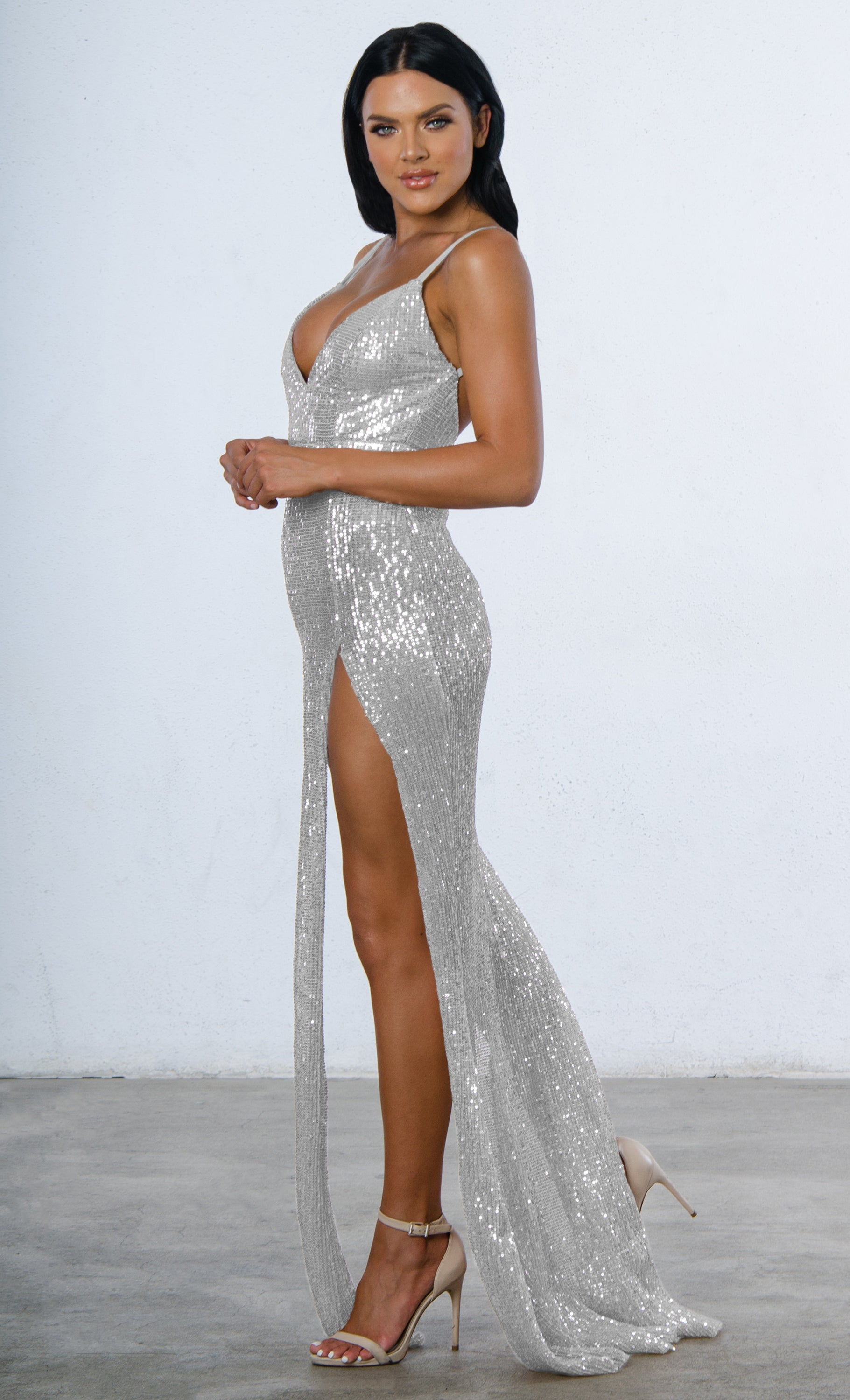 b326b1acc9a Indie XO Mystery Girl Silver Semi Sheer Sequin Sleeveless Spaghetti Strap  Plunge V Neck Backless Double