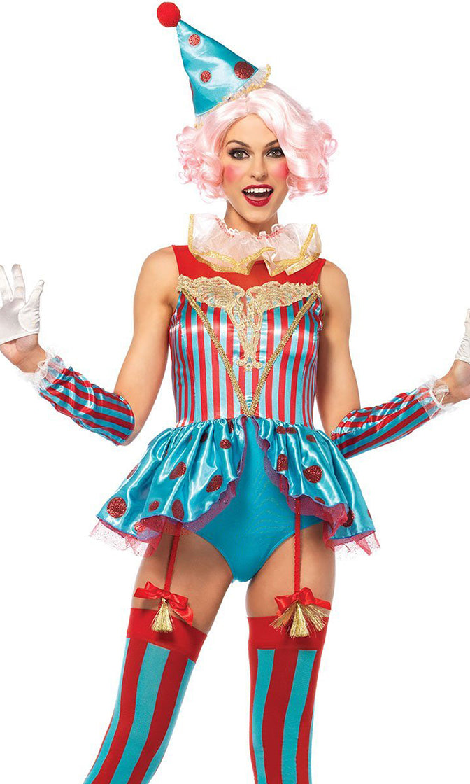 Circus Act Red Aqua Blue Vertical Stripe Polka Dot Pattern Sleeveless Boat Neck Ruffle Peplum Bodysuit Halloween Costume