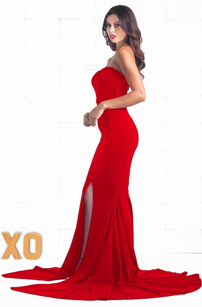 Indie XO To The Limit Red Strapless Sweetheart Neck Slit Front Fishtail Mermaid Bodycon Dress - Just Ours!