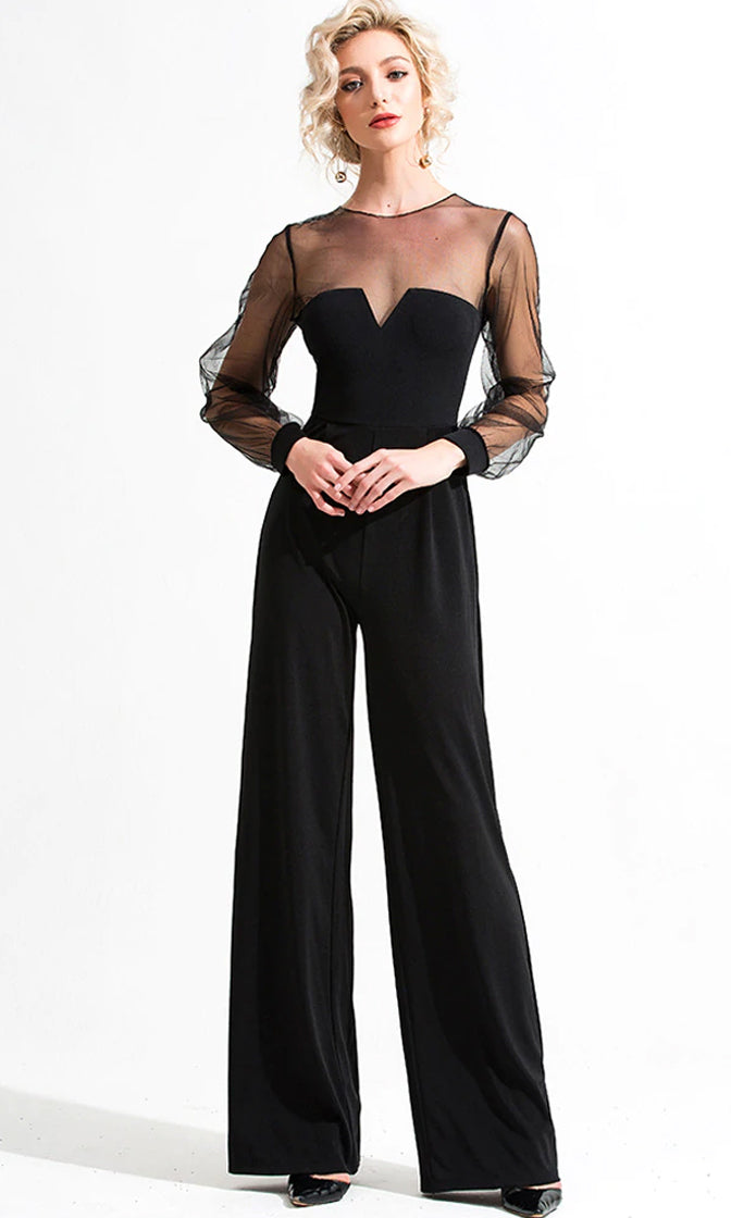 Behind The Scenes Black Sheer Mesh Long Sleeve Crew Neck Wide Leg Loose Jumpsuit
