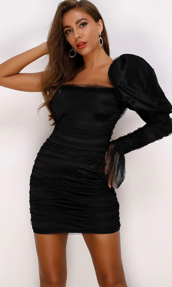 Sweet Emotions Black Ruched Puff Shoulder Sleeve Beaded Pearl One Shoulder Flare Long Sleeve Mesh Bodycon Mini Dress