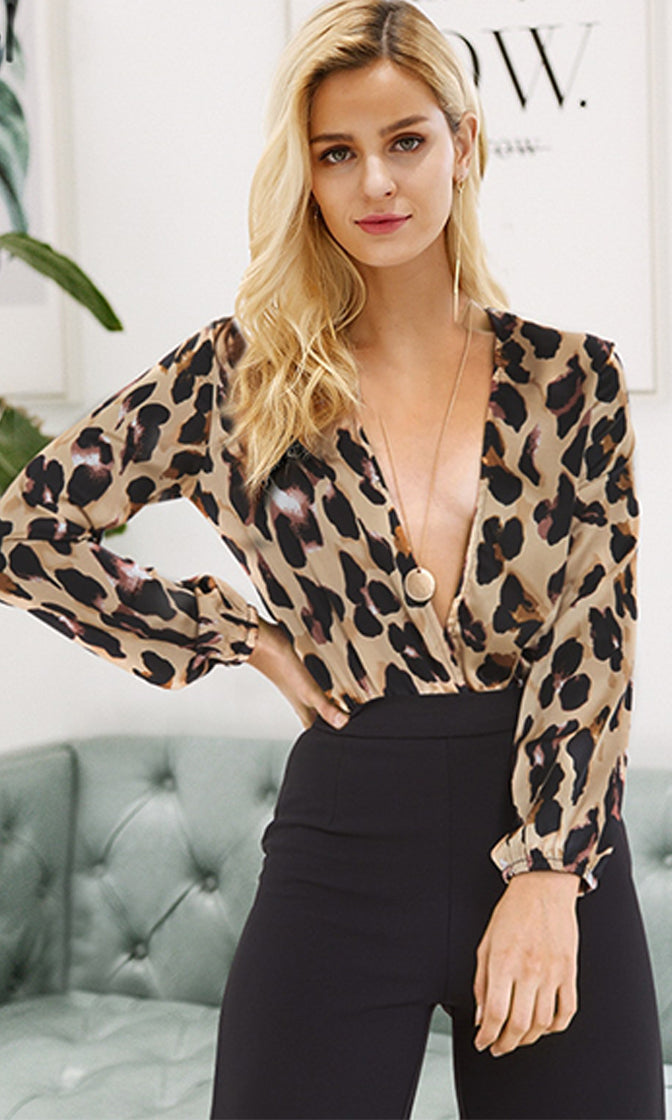 Risk Taker Leopard Animal Pattern Long Sleeve Plunge V Neck Bodysuit Top -  Sold Out 7883504ef
