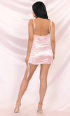 Hit The Jackpot White Satin Sleeveless Spaghetti Strap Drape Cowl Neck Ruched Bodycon Mini Dress - 3 Colors Available