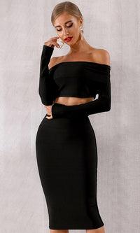 Double Dare Black Long Sleeve Off The Shoulder Crop Top Bodycon Bandage Two Piece Midi Dress - Sold Out