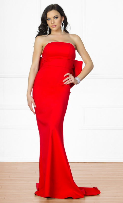 Indie XO Bow Me a Kiss Red Strapless Low Back Maxi Dress Gown