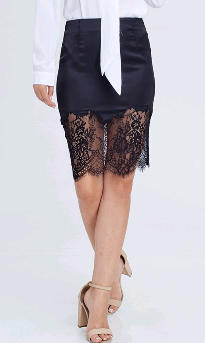 Strictly Confidential Black Satin Lace Trim High Waist Skinny Bodycon Pencil Mini Skirt