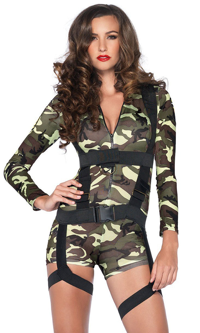 Booty Camp Green Camouflage Pattern Long Sleeve Mock Neck Zipper Harness Bodycon Romper Playsuit Halloween Costume