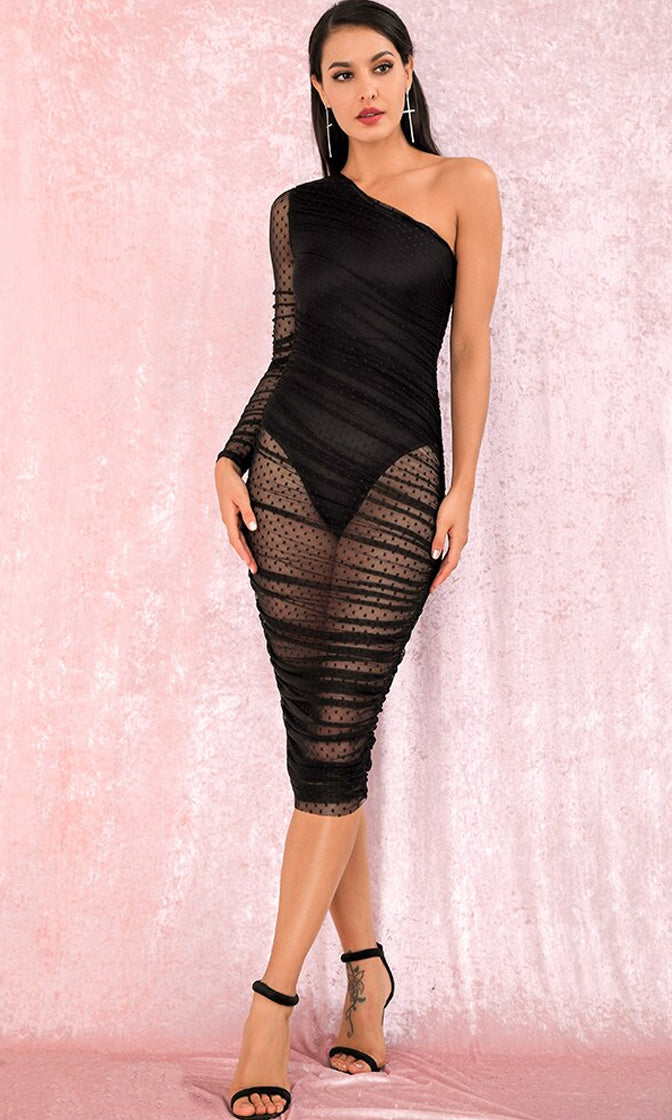 Express Yourself Black Sheer Mesh Swiss Dot Pattern Long Sleeve One Shoulder Ruched Bodycon Midi Dress