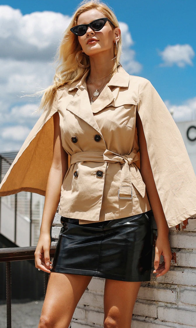 Undercover Agent Light Brown Long Slit Sleeve Cape Double Breasted Belted Trench Coat Jacket Outerwear - Sold Out