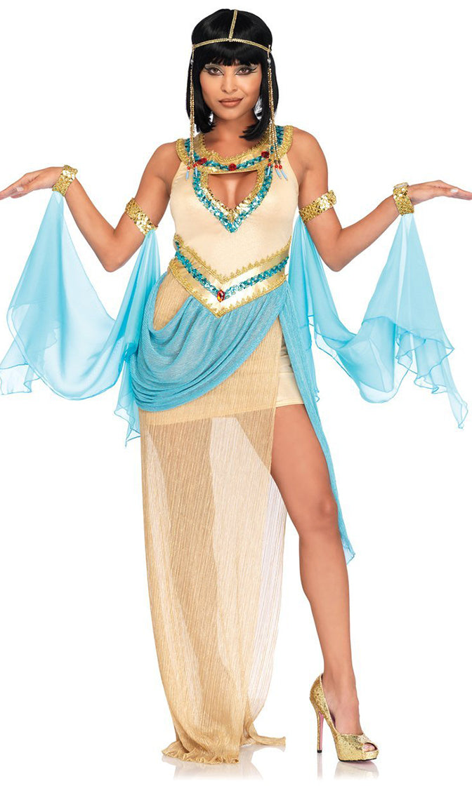 Egyptian Queen Gold Blue Sheer Chiffon Sleeveless Cut Out V Neck Sequin Side Slit Maxi Dress Halloween Costume