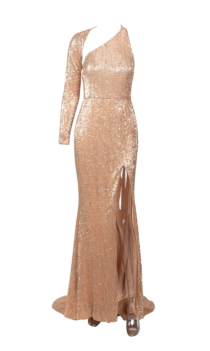 Far From Over Pink Sequin Long Sleeve One Shoulder Cut Out Backless Fit And Flare Maxi Dress