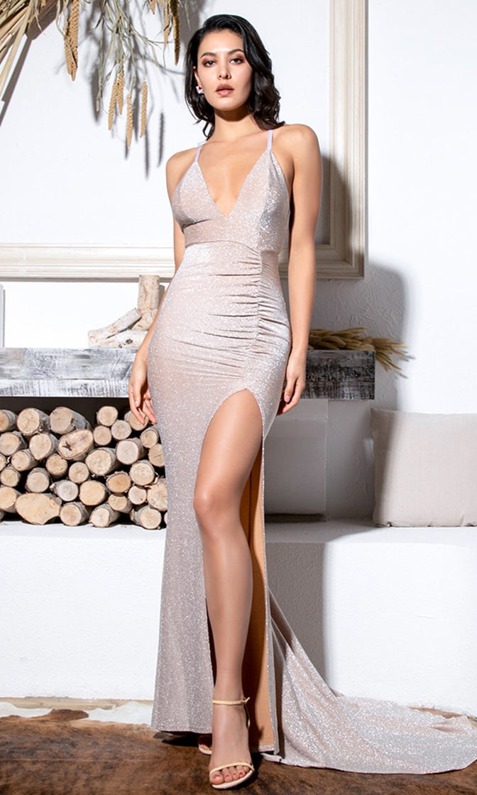 Hollywood Glam V Neck Elastic Beige Glitter Bodycon Spaghetti Strap Slit Leg Sleeveless Maxi Dress