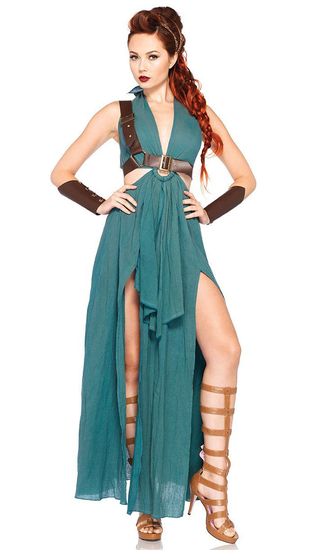 On The Mediterranean Dark Aqua Green Sleeveless Plunge V Neck Cut Out Side Front Slit Maxi Dress Halloween Costume
