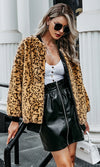 You Never Know Brown Leopard Print Animal Pattern Faux Fur Long Sleeve Zip Round Neck Bomber Jacket Outerwear