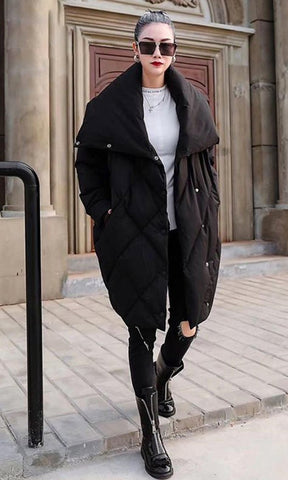 Armored Up Long Sleeve Down Quilted Oversized Ribbon Trim Asymmetric Puffy Winter Coat Outerwear