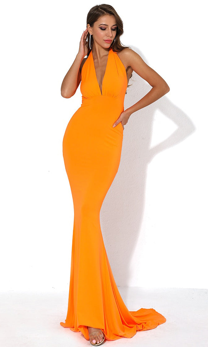 Drive Me Crazy Neon Blue Sleeveless Plunge V Neck Tie Halter Cut Out Back Bodycon Mermaid Maxi Dress