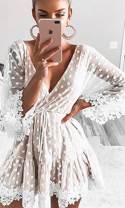 Silver Lake White Sheer Mesh Lace Polka Dot Pattern Elbow Sleeve Cross Wrap V Neck A Line Mini Dress