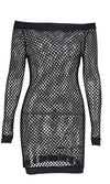 You Bet Fishnet White Mesh Beach Cover Up Cut Out Long Sleeve Off The Shoulder Bodycon Casual Mini Dress