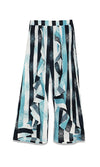 Free Flowing Vertical Stripe Geometric Pattern High Waist Wide Leg Loose Ruffle Trouser Pants - Sold Out