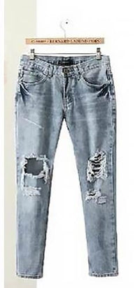 Torn To Pieces Blue Denim Ripped Frayed Destroyed Skinny Boyfriend Jeans - Sold Out
