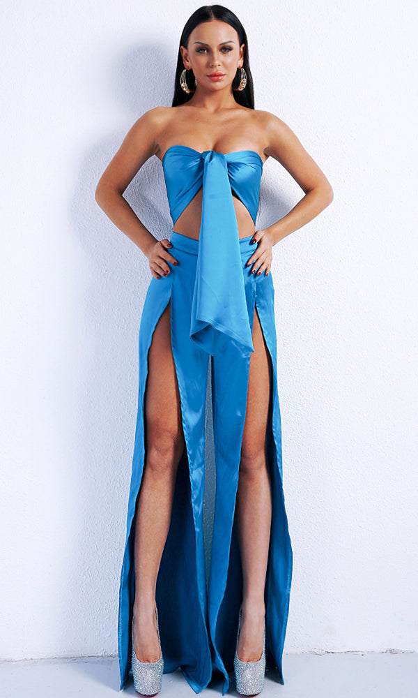 Shining On Me Blue Strapless Tie Crop Top Split Wide Leg Pant Jumpsuit Two Piece Set