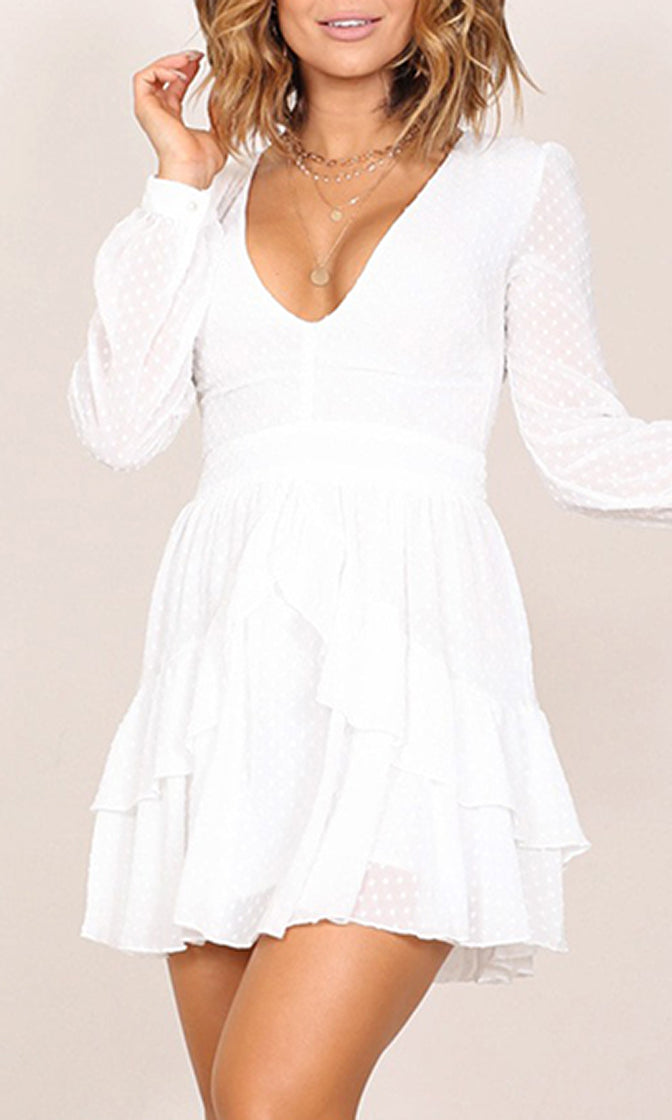 Remember Us Sheer Mesh Swiss Dot Pattern Long Sleeve V Neck Bow Tiered Mini Dress - 2 Colors Available - Sold Out