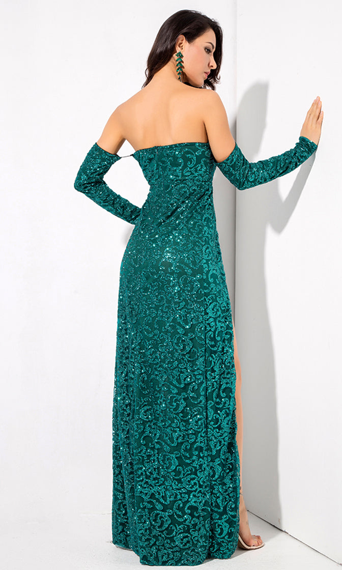 Give It Up Green Glitter Swirl Pattern Long Sleeve Off The Shoulder Double Slit Maxi Dress