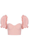 Save Me Pink Short Puff Sleeve Ruffle Bustier Crop Top Blouse