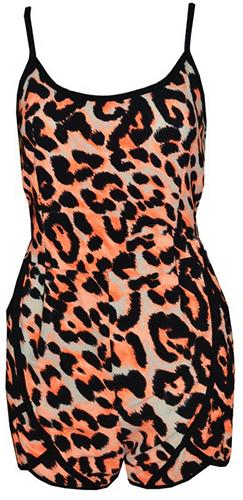Orange Beige Black Leopard Print Sleeveless Spaghetti Strap V Neck Open Tie Back Short Romper - Last One!