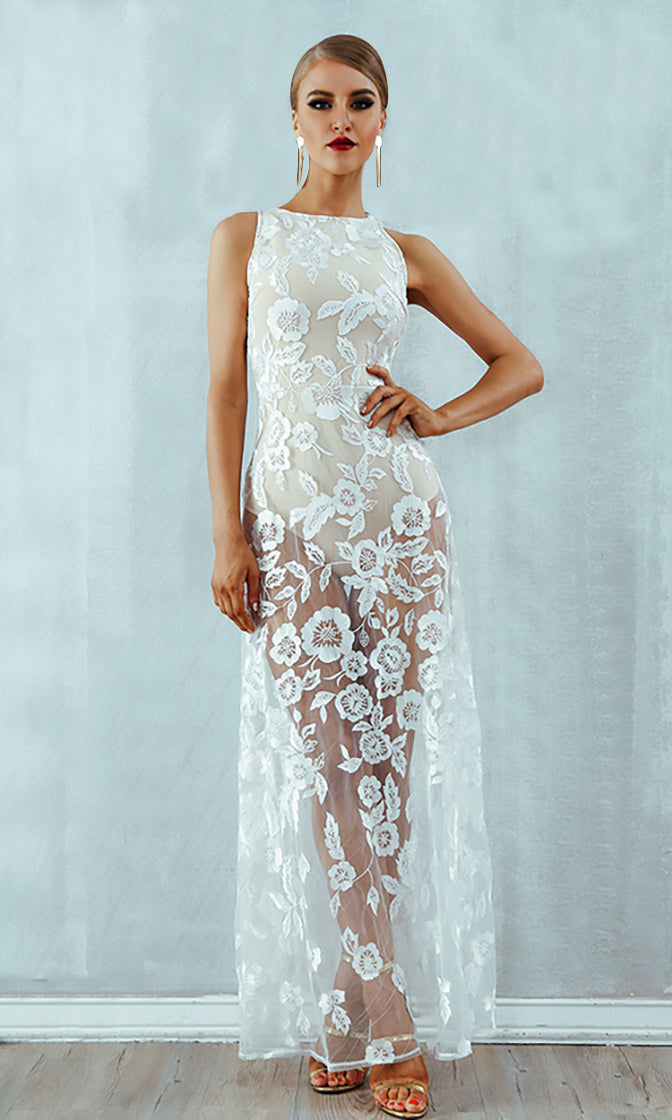 Private Moment White Sheer Mesh Lace Sleeveless High Neck Maxi Dress