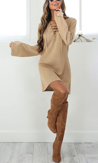 693b634dfe Mixed Messages Beige Long Bell Sleeve Lace Up V Neck Sweater Mini Dress
